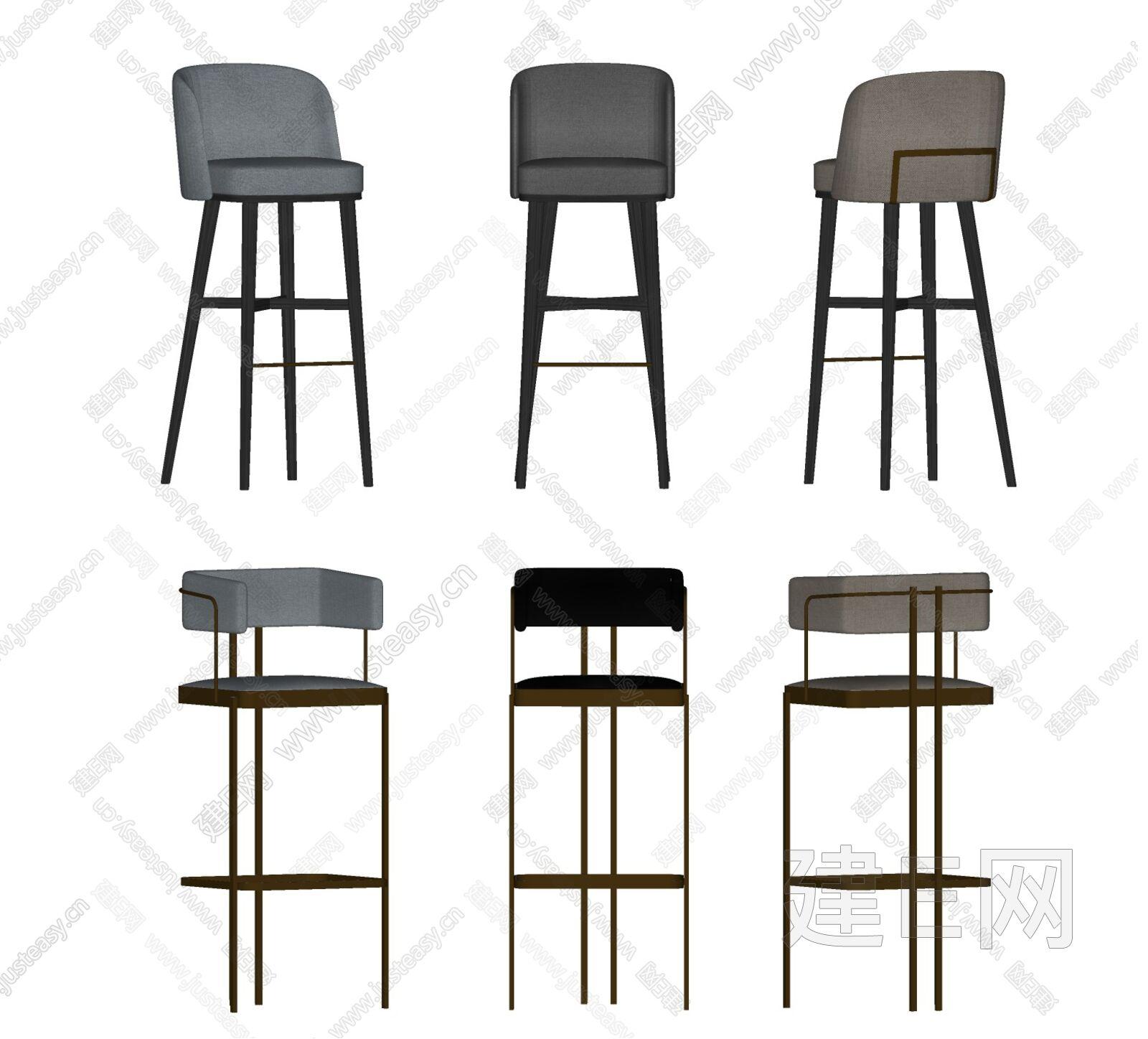 现代轻奢吧椅组合sketchup模型