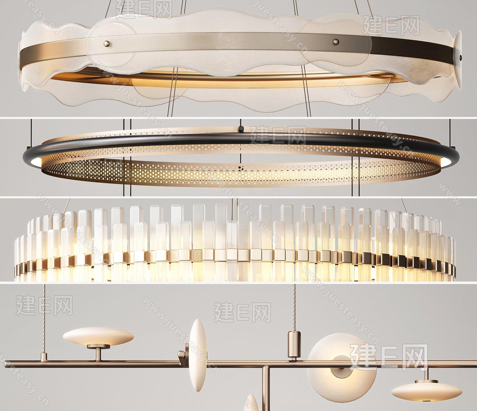 现代轻奢金属吊灯组合3d模型