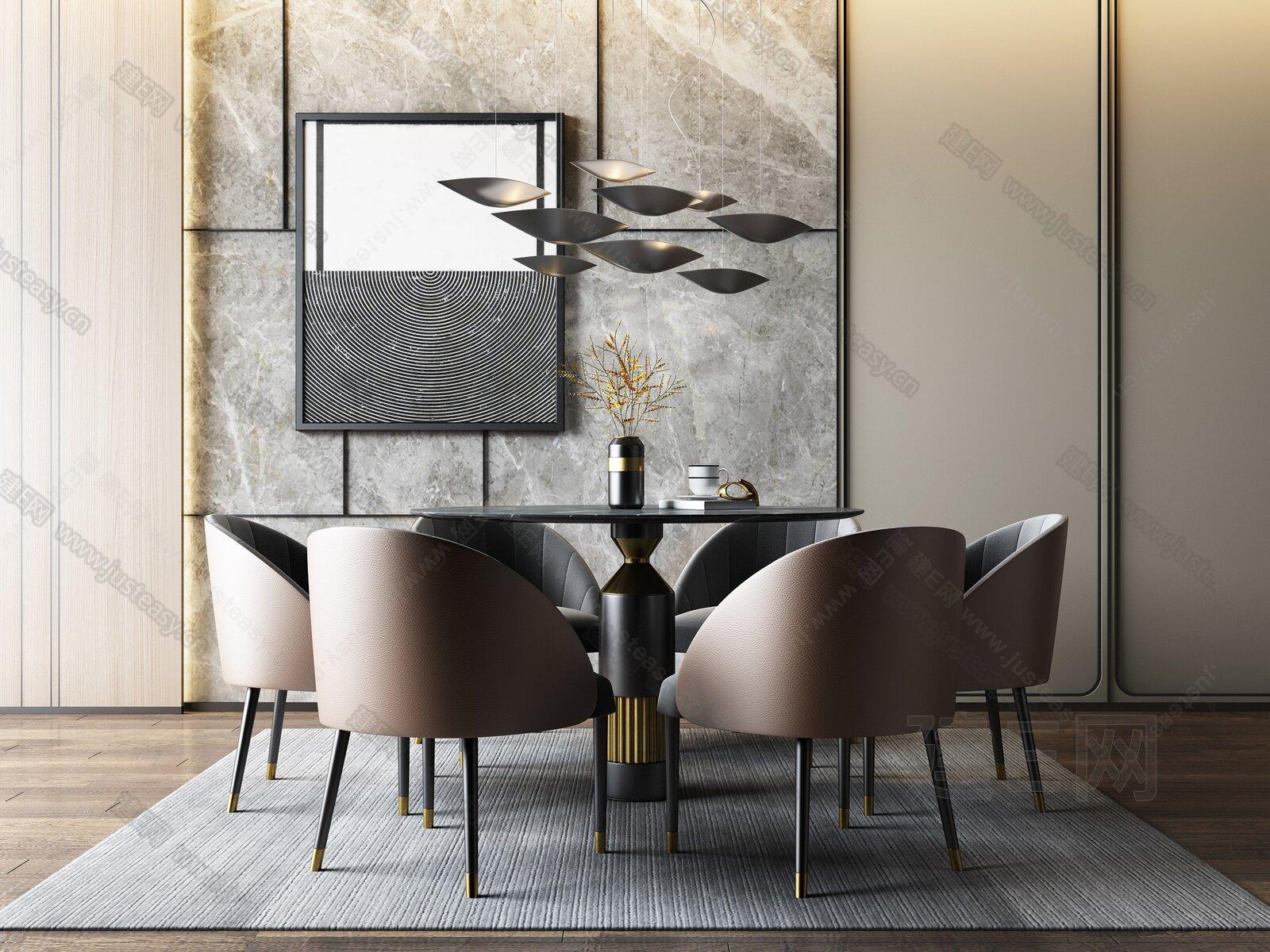 现代餐桌椅吊灯组合3d模型