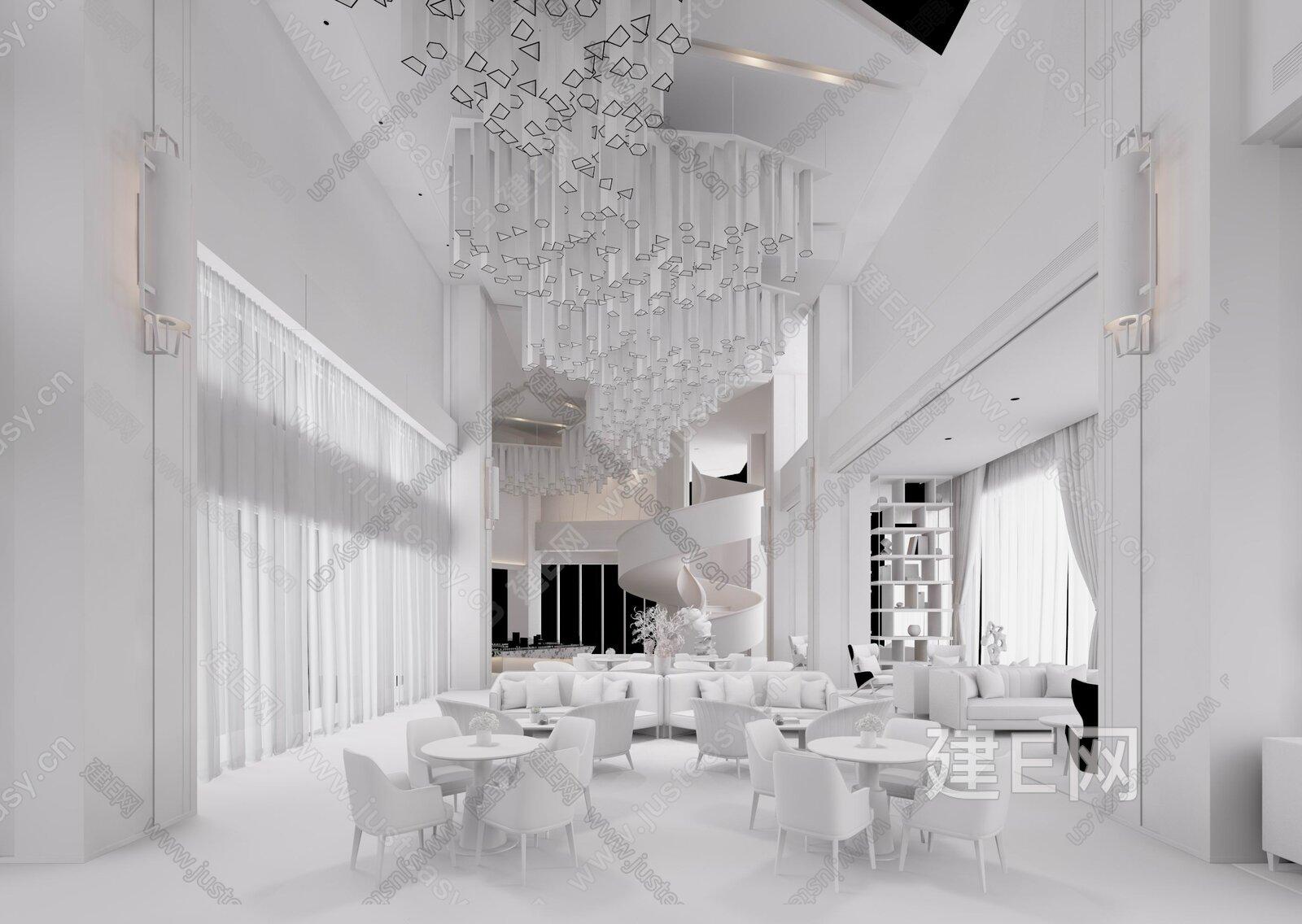 现代售楼处休闲区3d模型