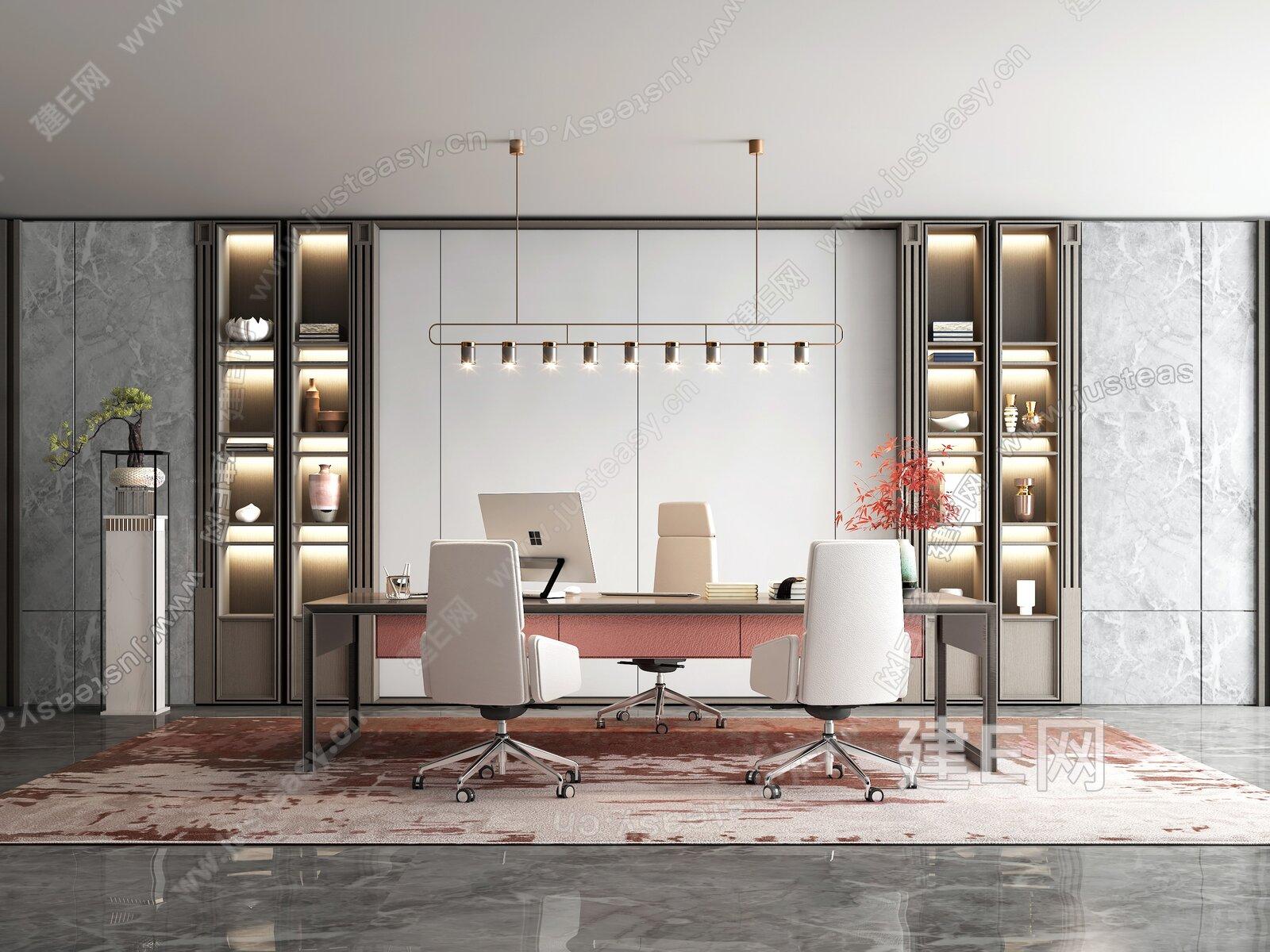 新中式领导办公室3d模型