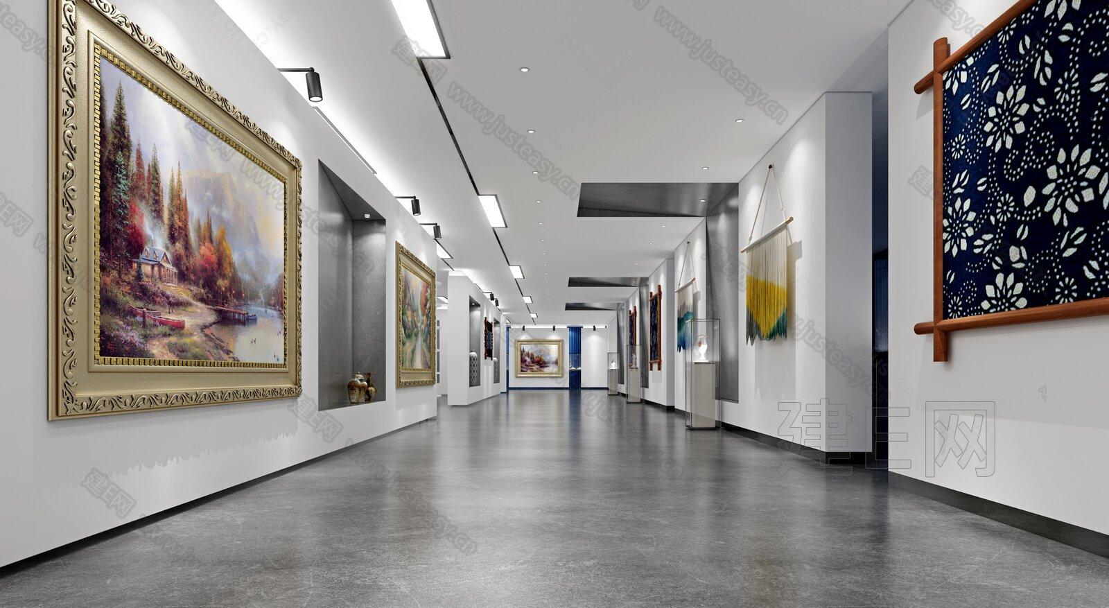 現代文化藝術展廳吧臺過道3d模型