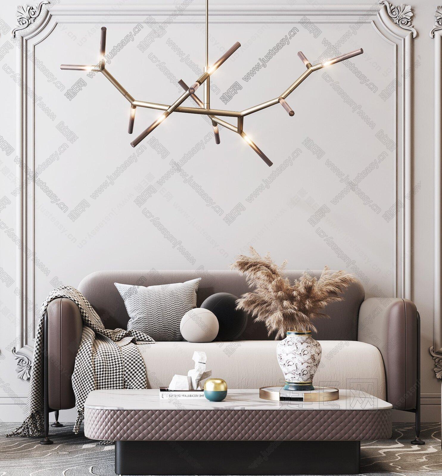 现代新奢华双人沙发茶几组合3d模型