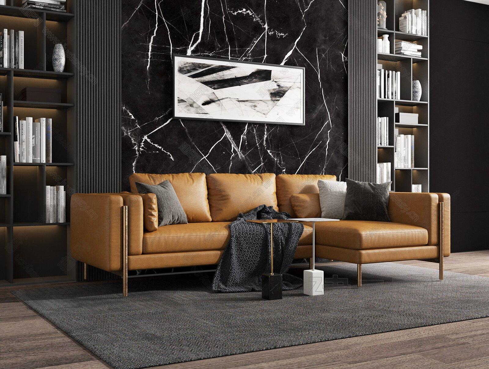 現代皮革沙發茶幾組合3d模型