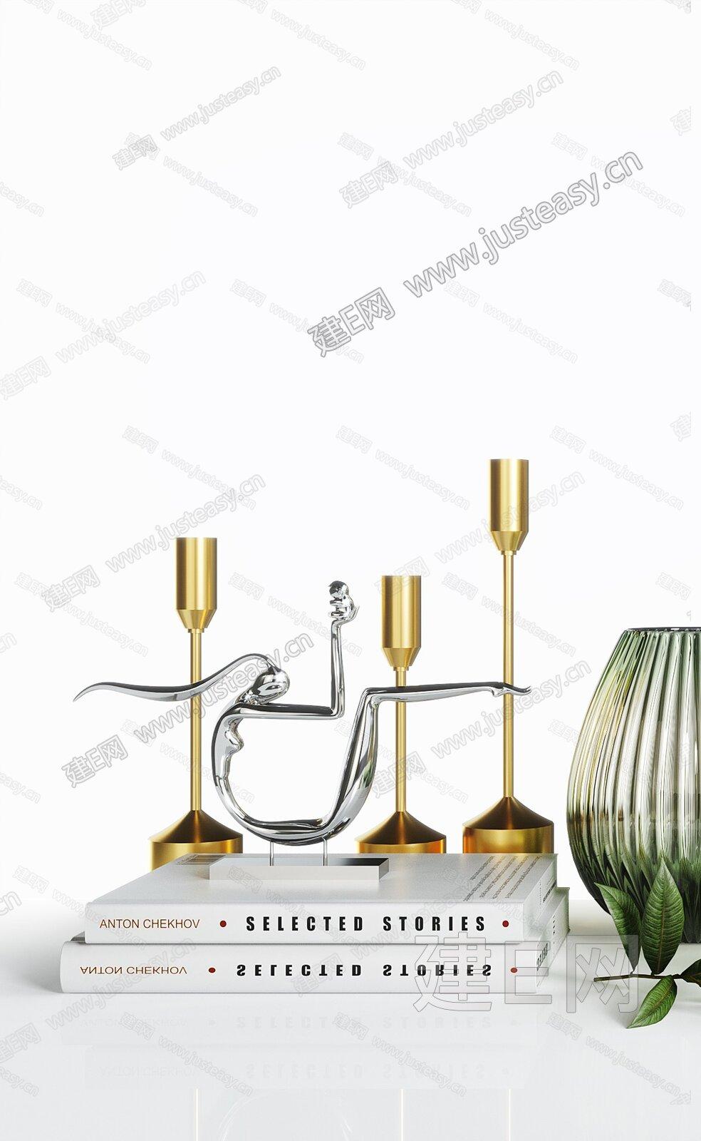 北歐ins豎棱玻璃花瓶擺件3d模型
