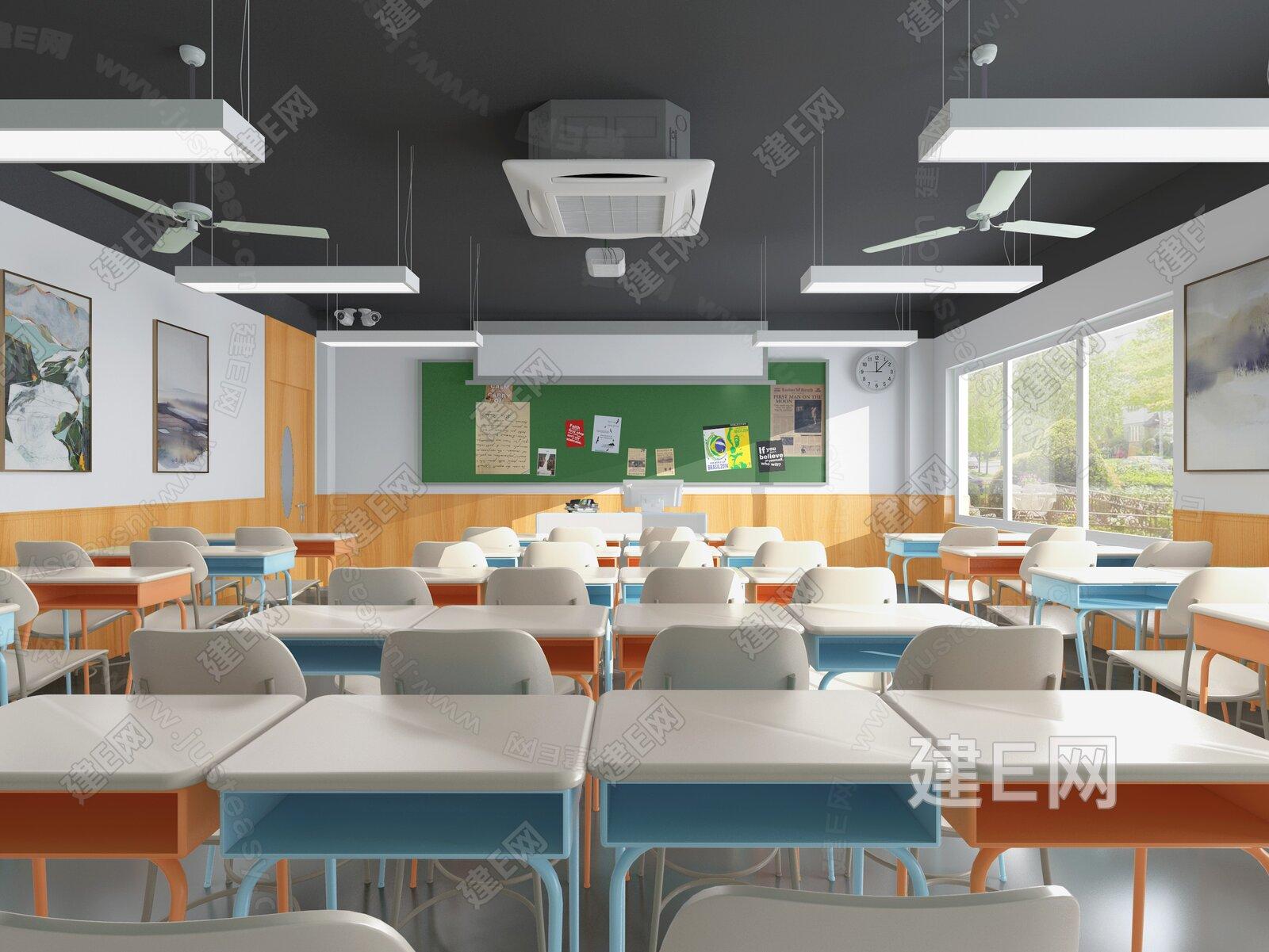 現代培訓教室3d模型