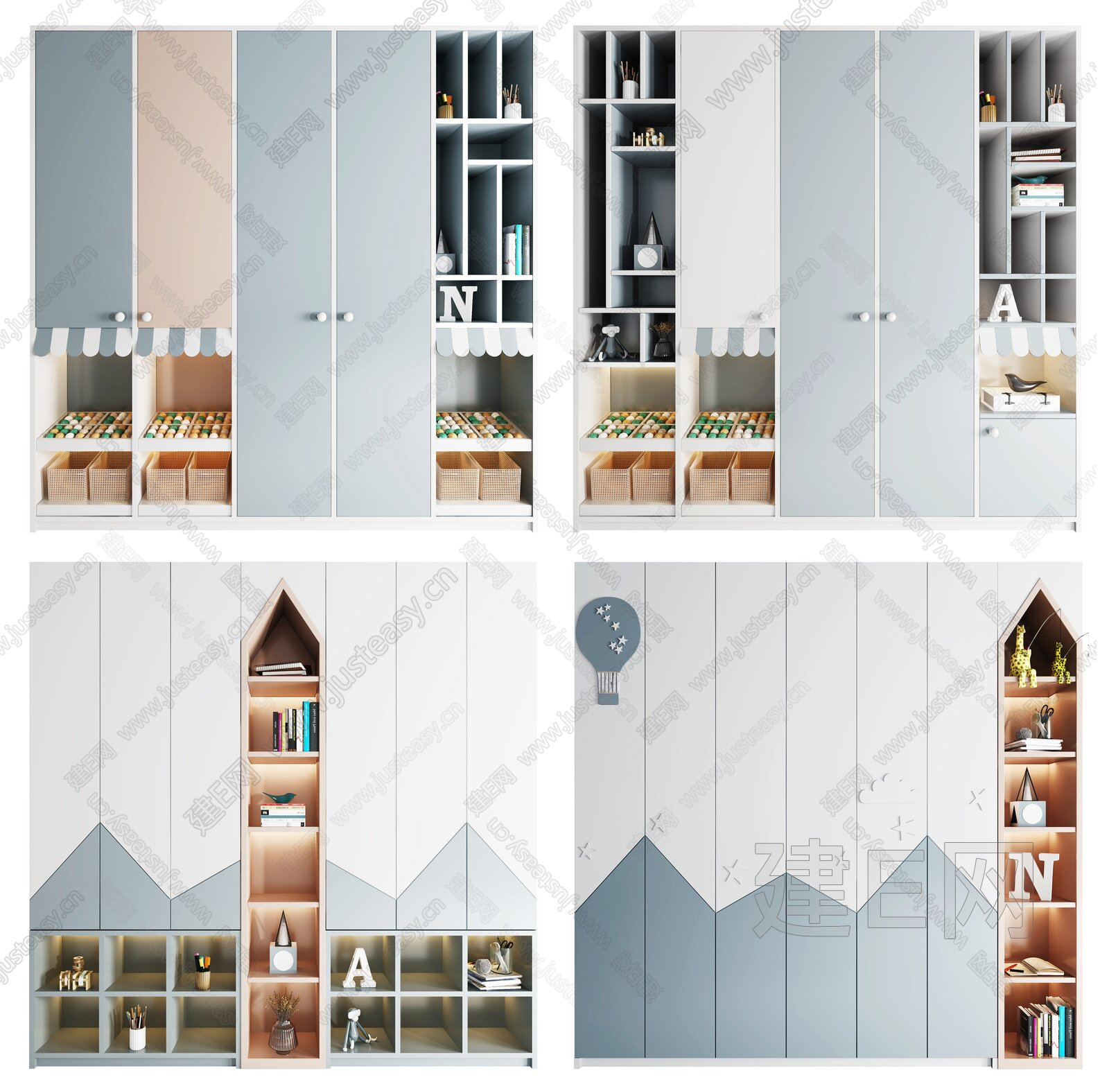 北欧儿童衣柜组合3d模型