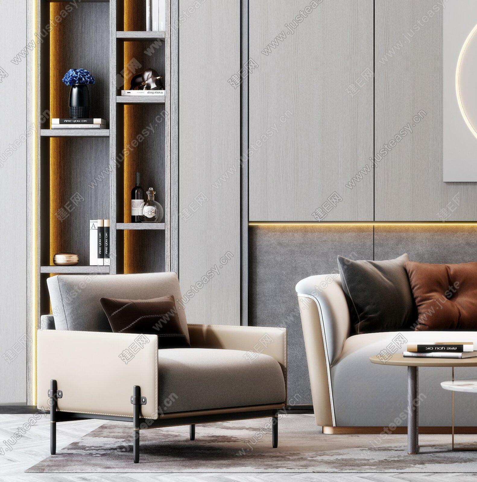 现代轻奢双人沙发茶几墙饰组合3d模型