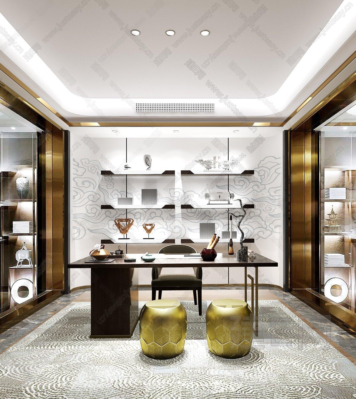 上海天鼓装饰设计 北京亿城燕西院子61#联排别墅 新中式书房3d模型