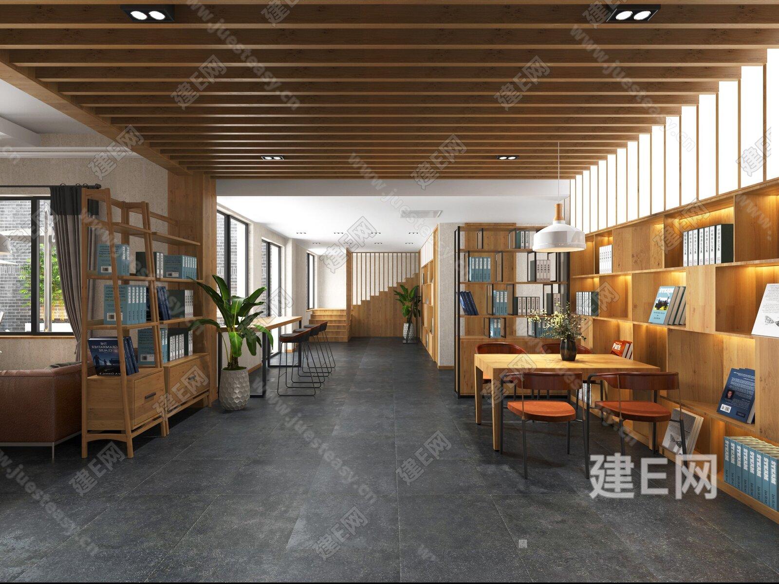 新中式书吧咖啡吧3d模型