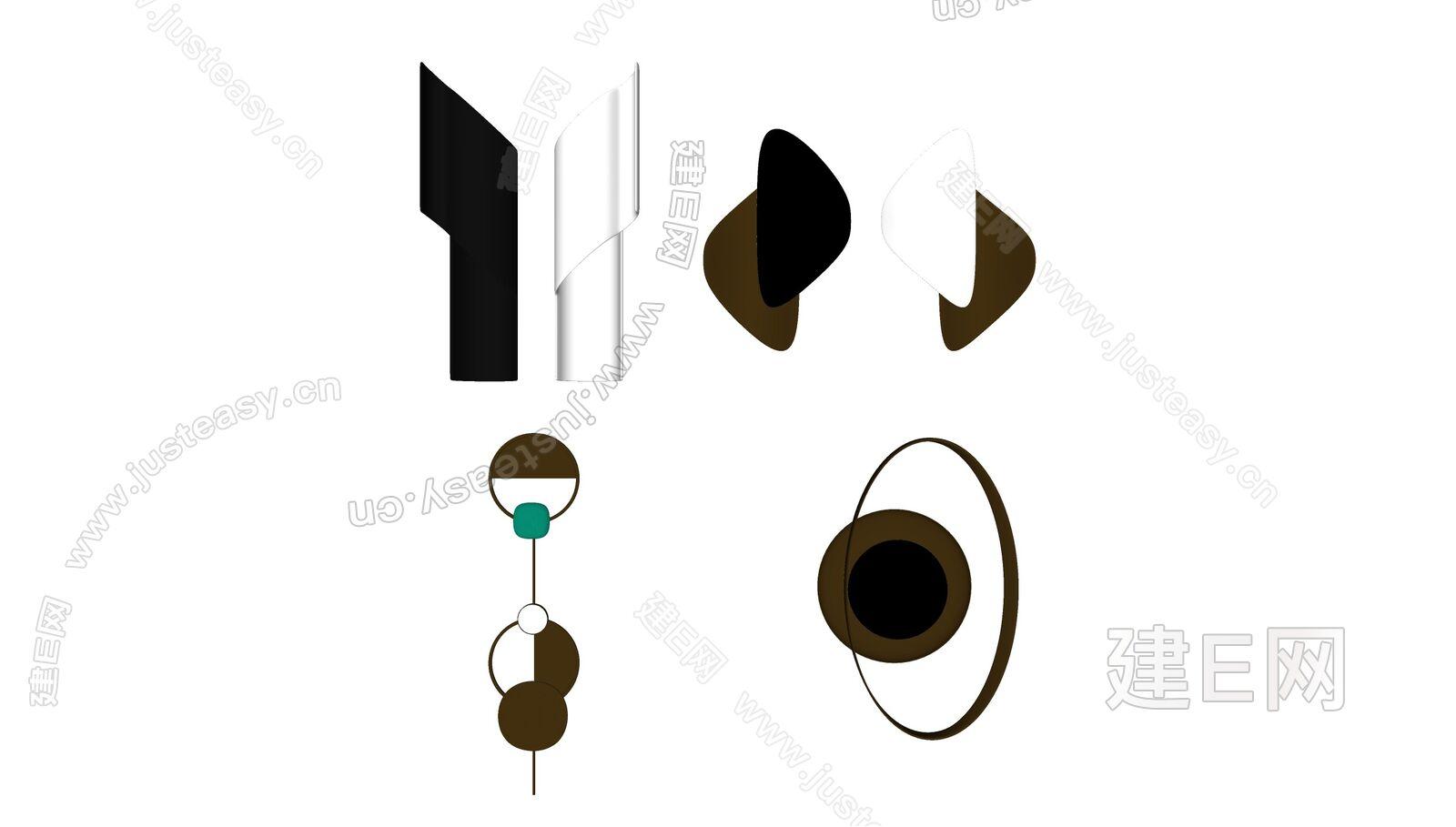 现代壁灯组合sketchup模型