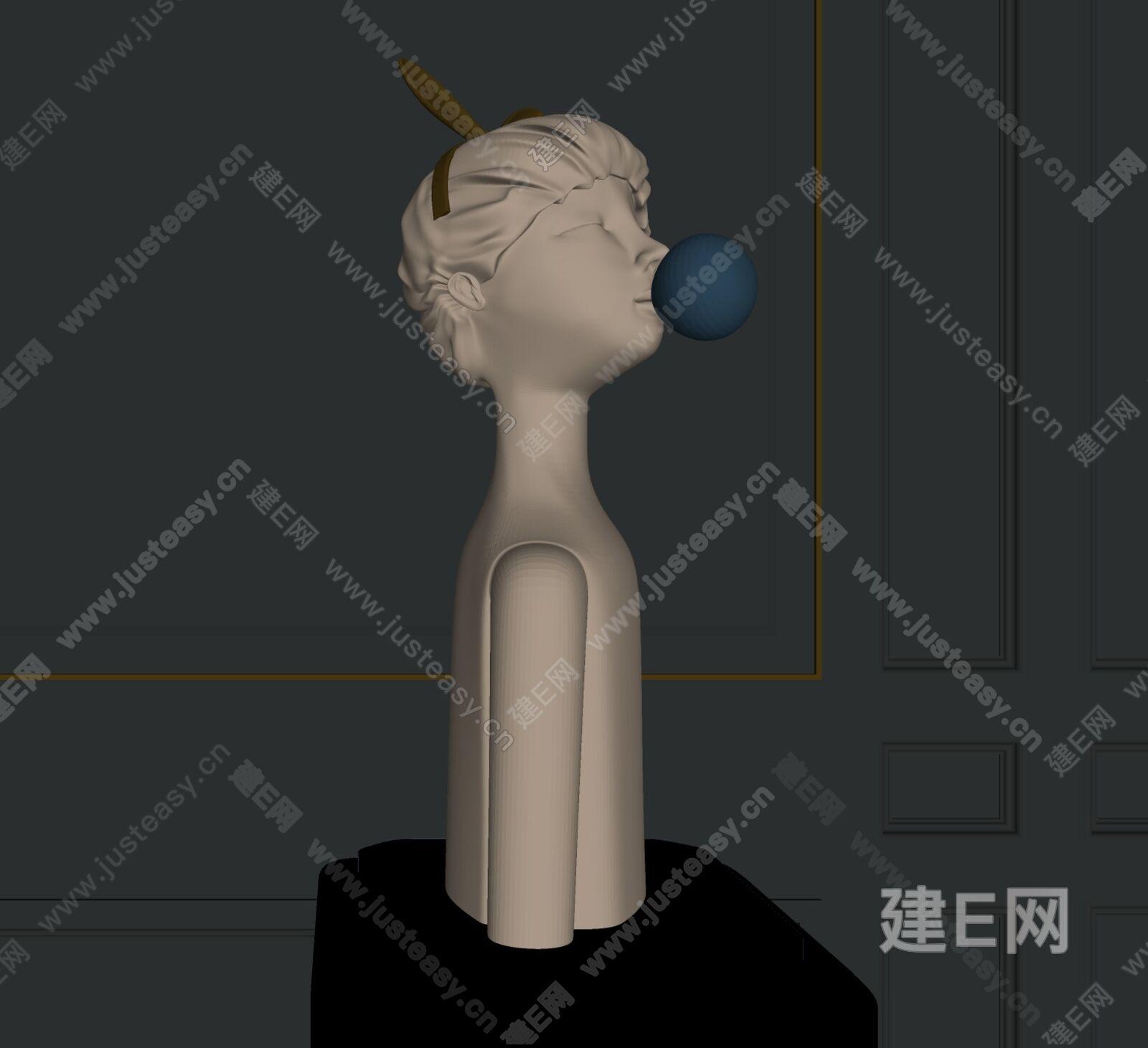 现代女孩雕塑sketchup模型