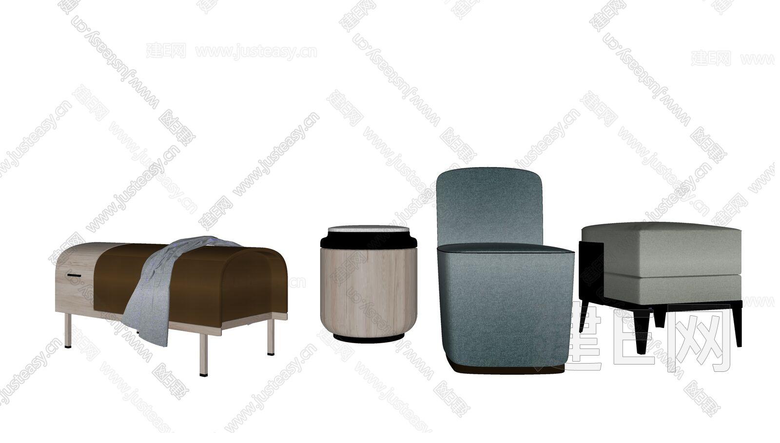 新中式椅凳组合sketchup模型