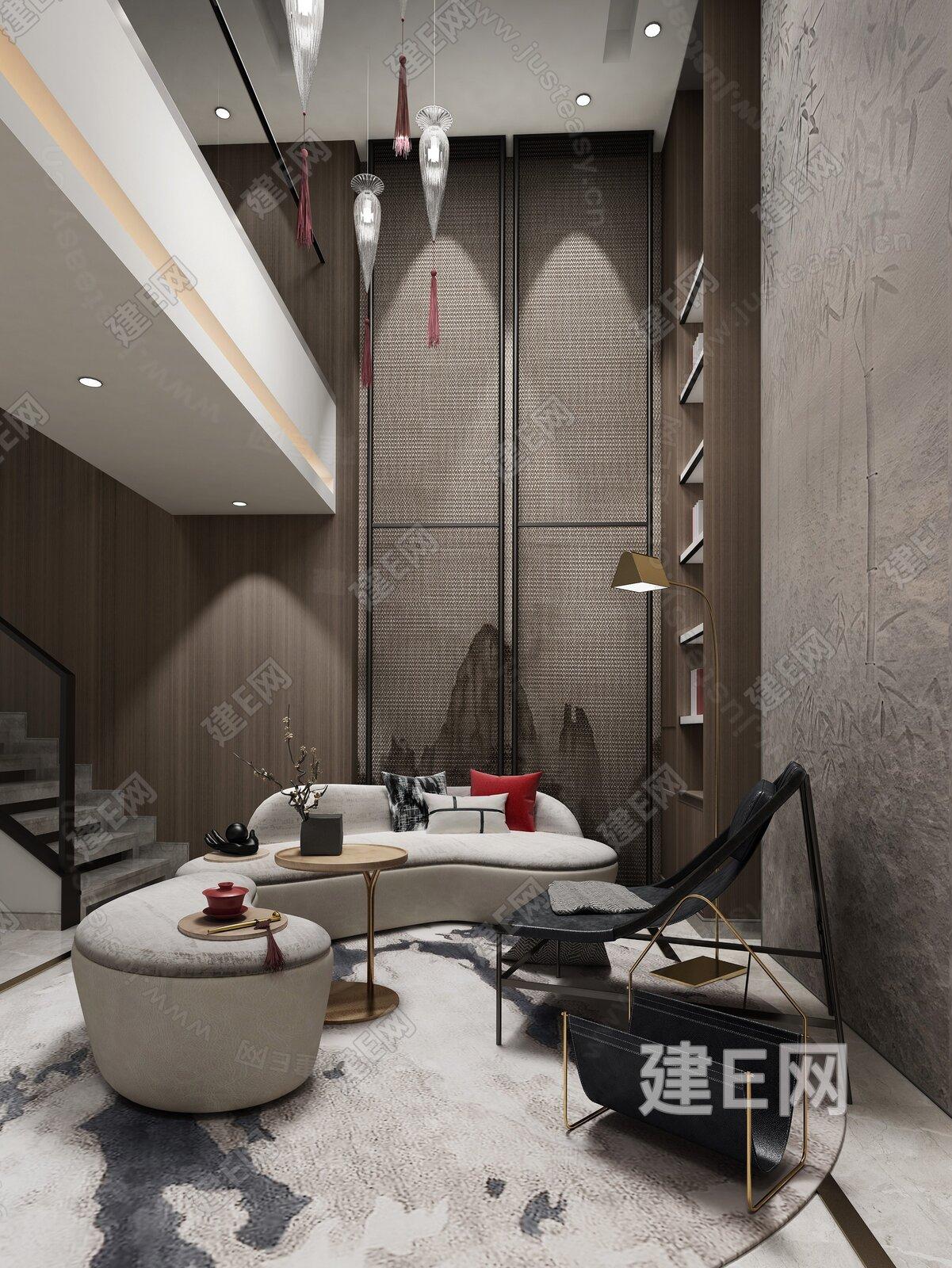 ZAD左木新作 新中式挑高客厅3d模型