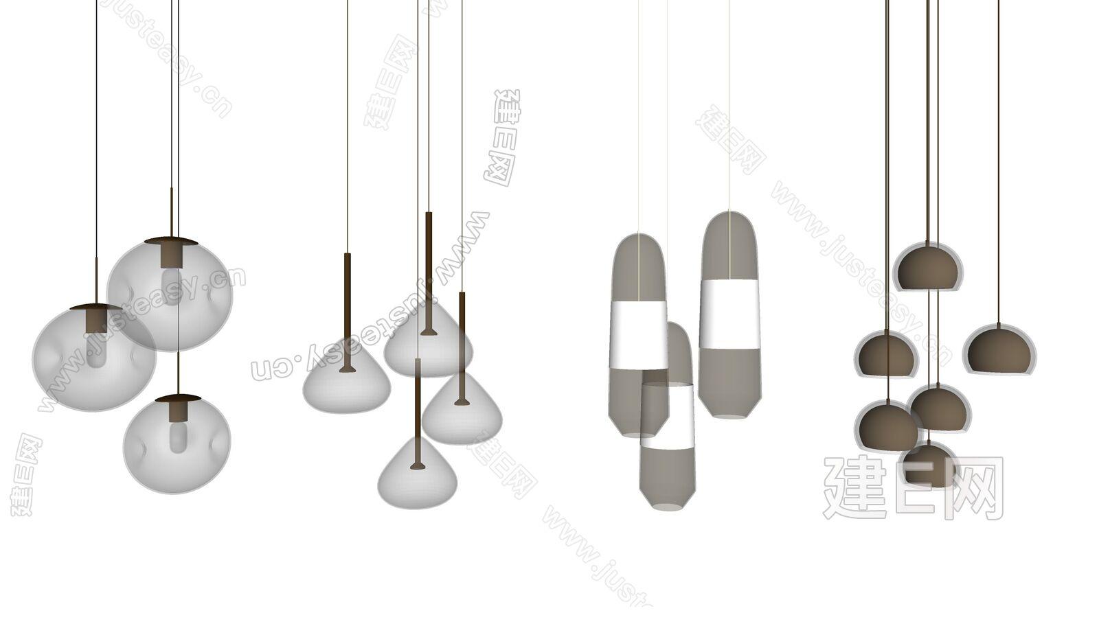 现代小吊灯组合sketchup模型