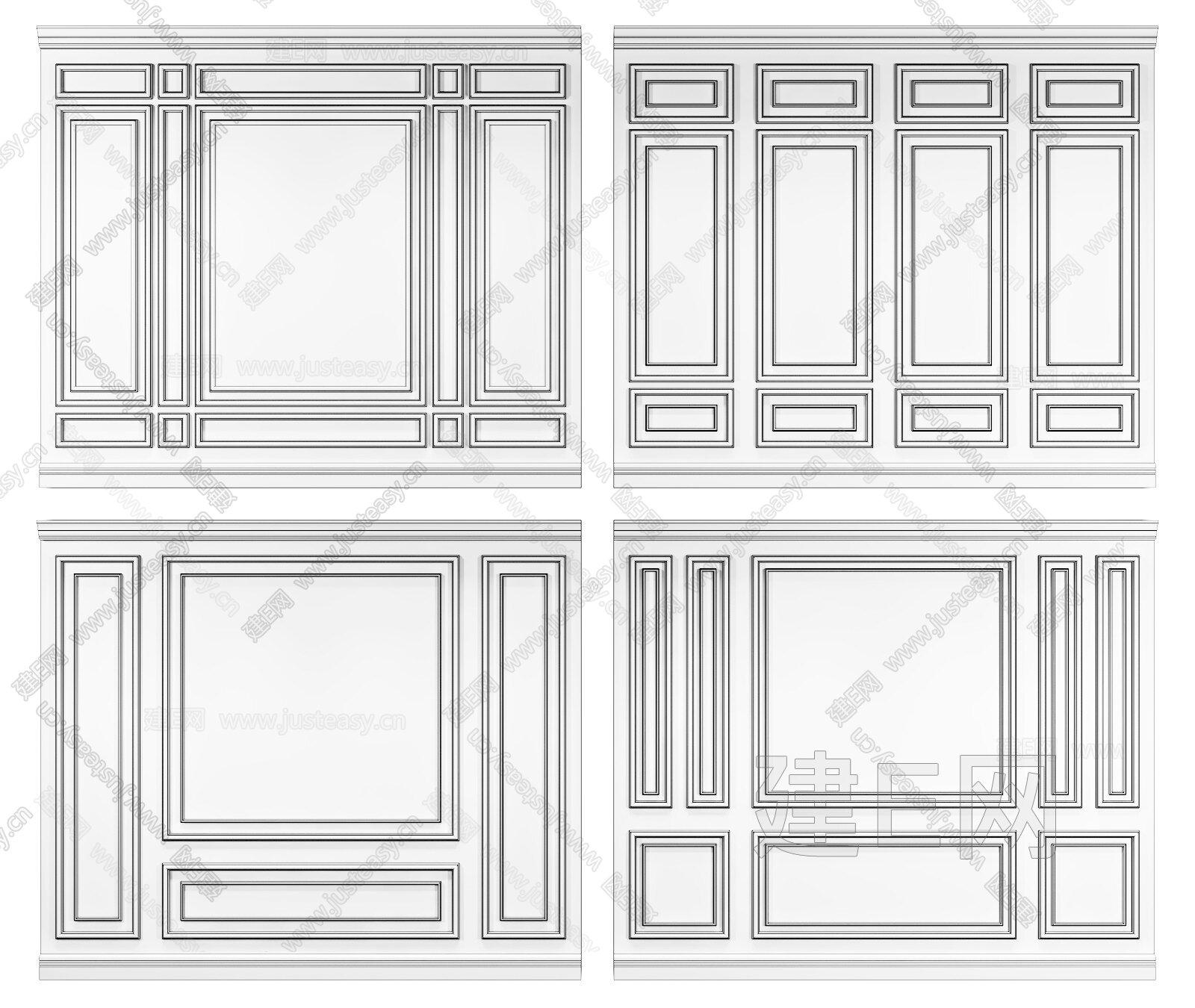 簡歐線條護墻板背景組合3d模型