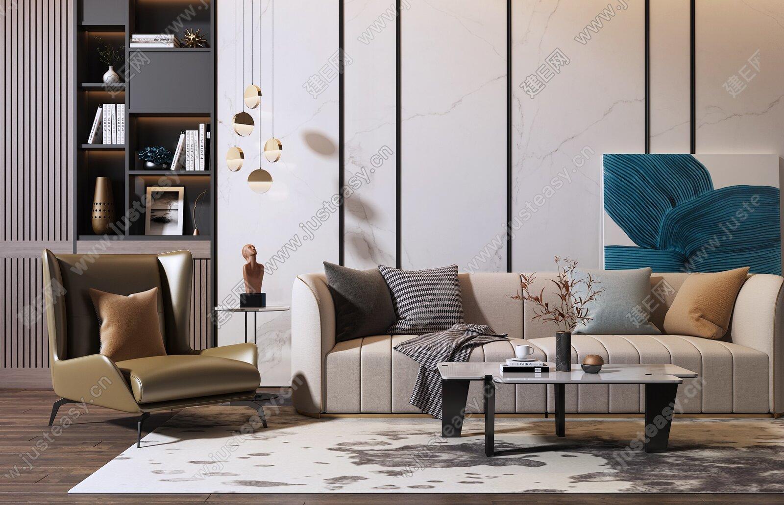 现代多人沙发茶几组合3d模型
