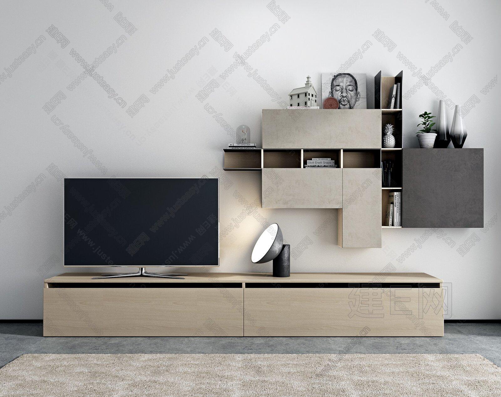 北欧电视柜墙柜组合3d模型
