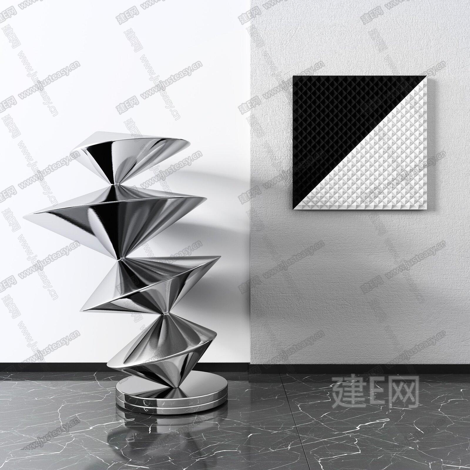 现代金属雕塑3d模型