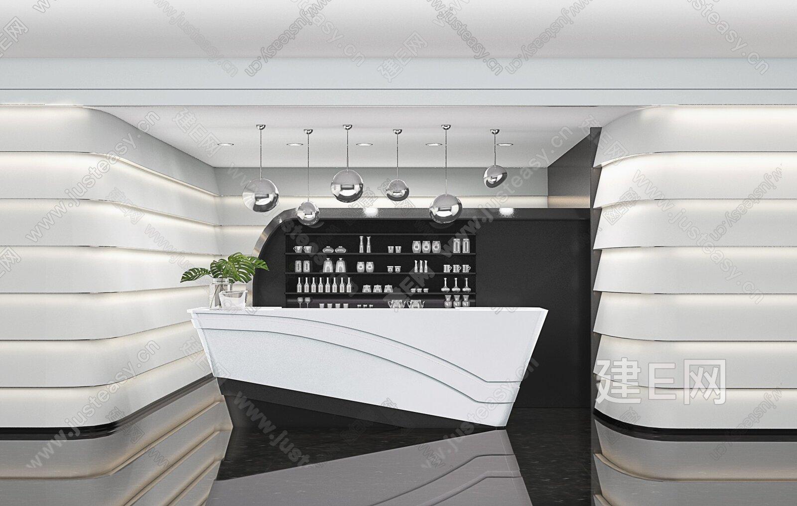 LSDCASA葛亚曦 现代售楼处水吧台3d模型