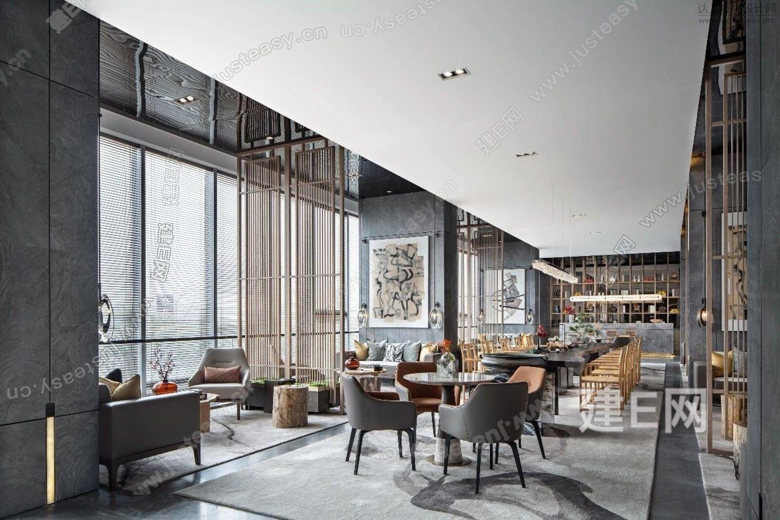 现代新中式风格售楼部3d模型