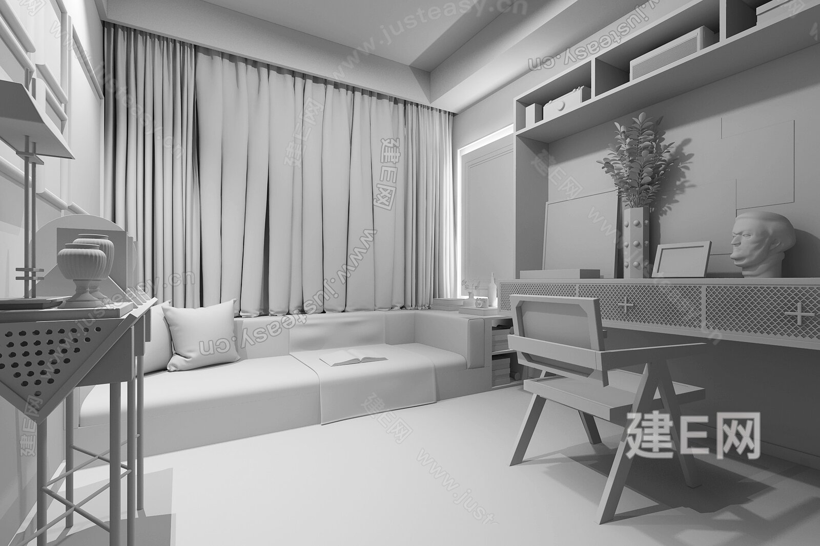IF DESIGN 羽果设计 融汇中西美学的艺术演绎 现代书房3d模型