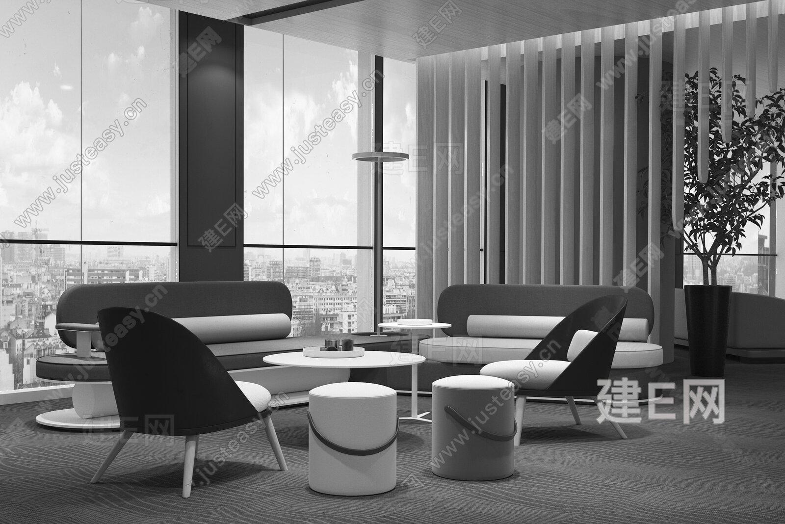 置美优合 广州花都国际金融中心 现代会客区3d模型