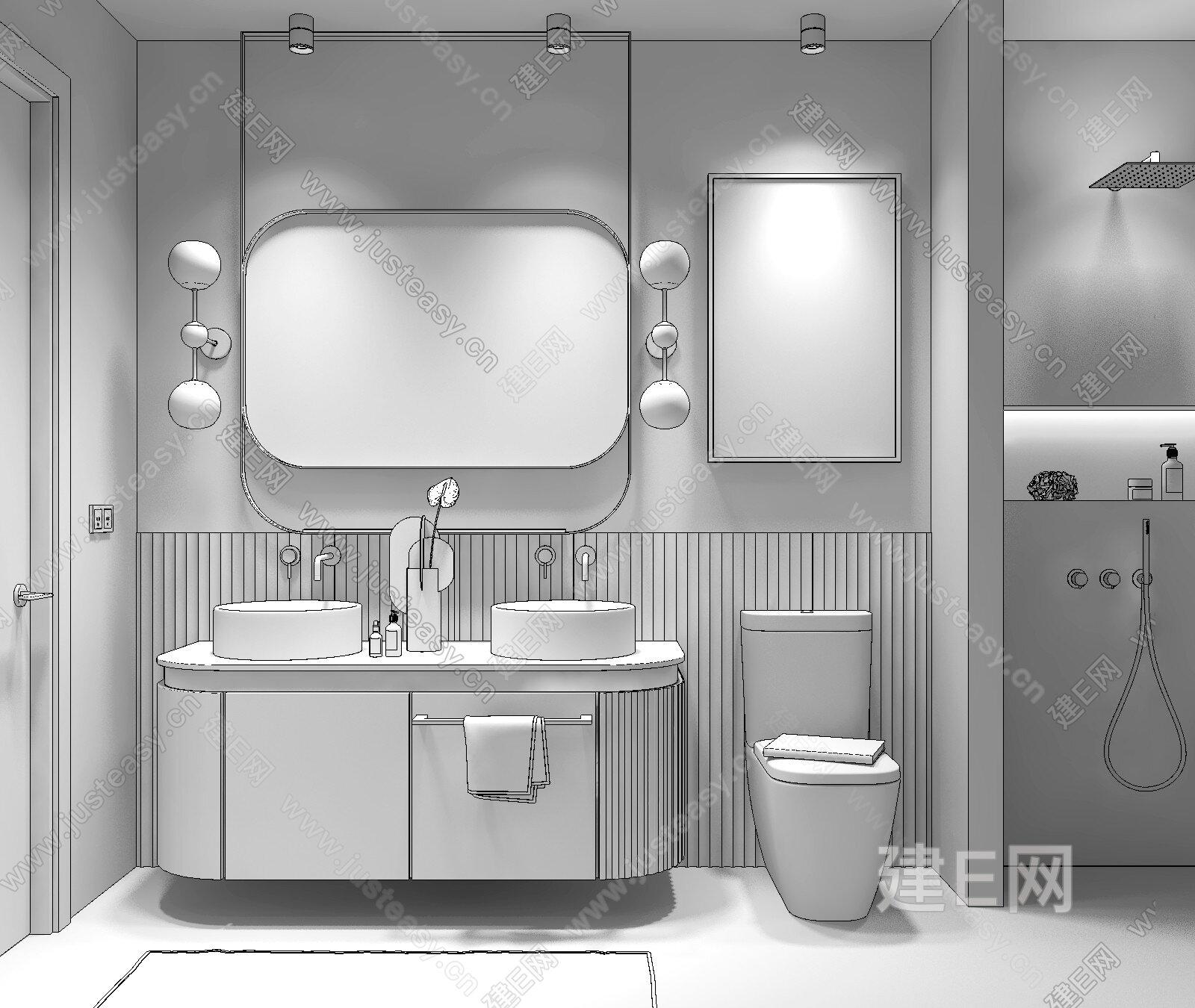 现代高级灰卫浴 3d模型