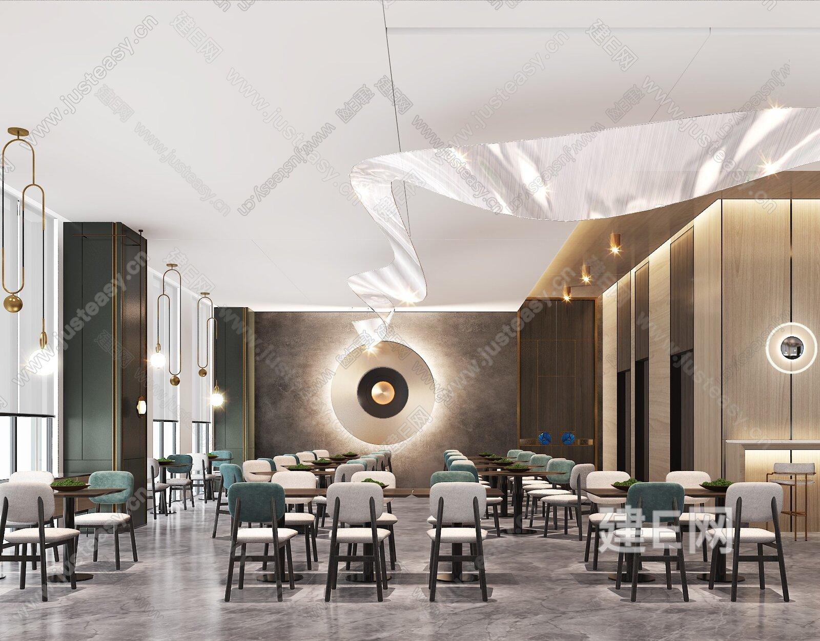 新中式酒店餐厅3d模型