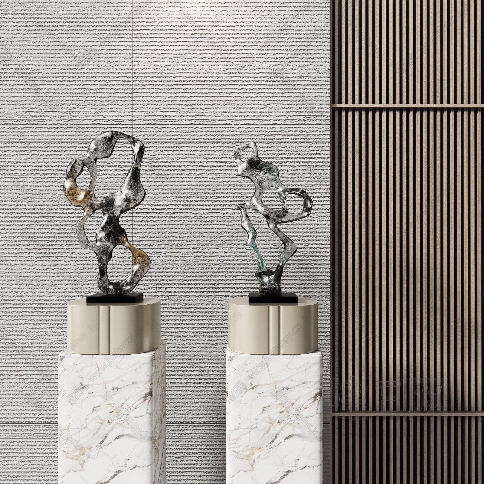 新中式雕塑组合3d模型