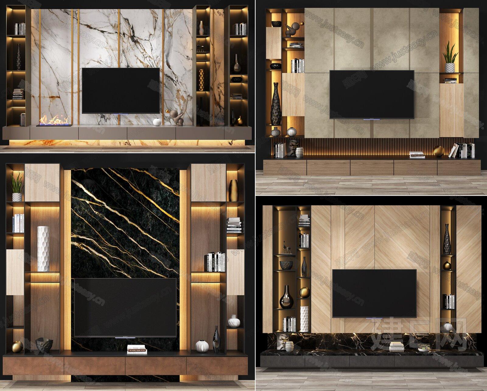 现代造型电视墙柜组合3d模型