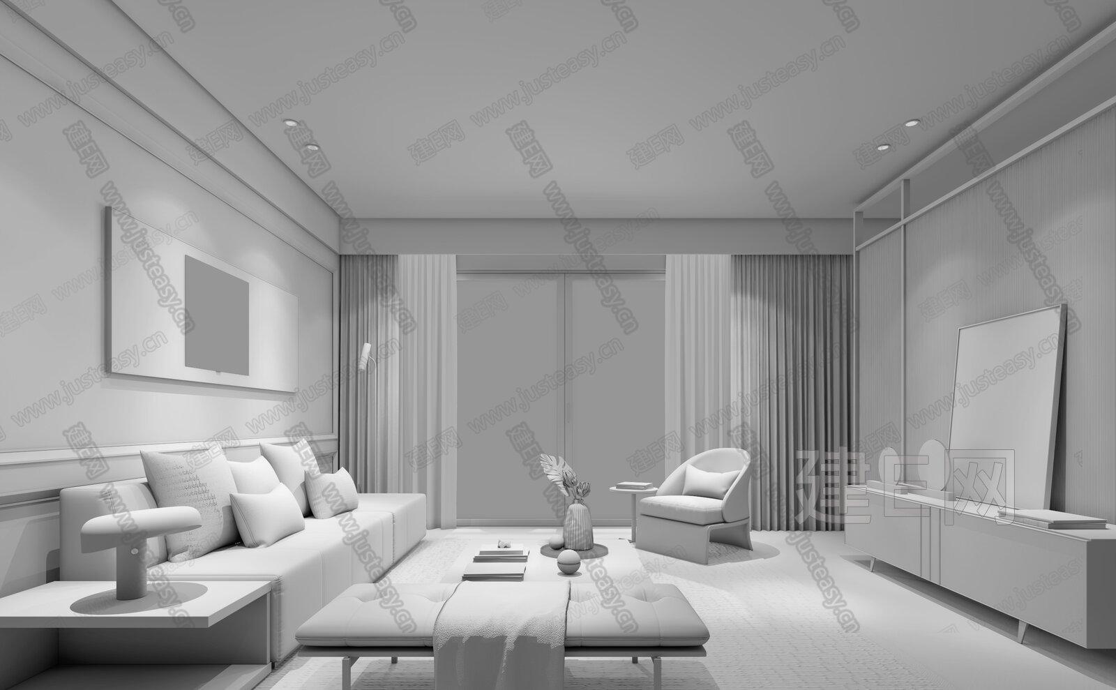 HCD IMPRESS柏年印象 福州长乐阳光城蓝光·璟月 现代客厅3d模型