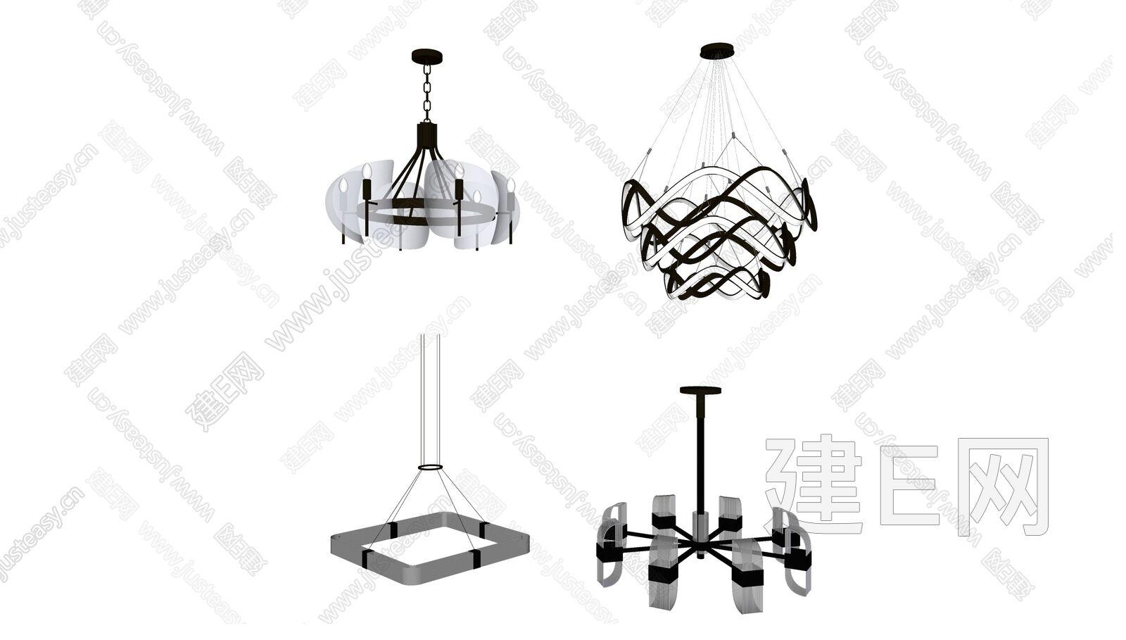 现代金属吊灯组合sketchup模型