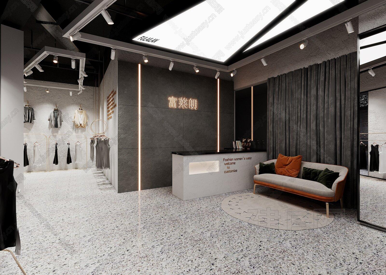 工业风女装店3d模型