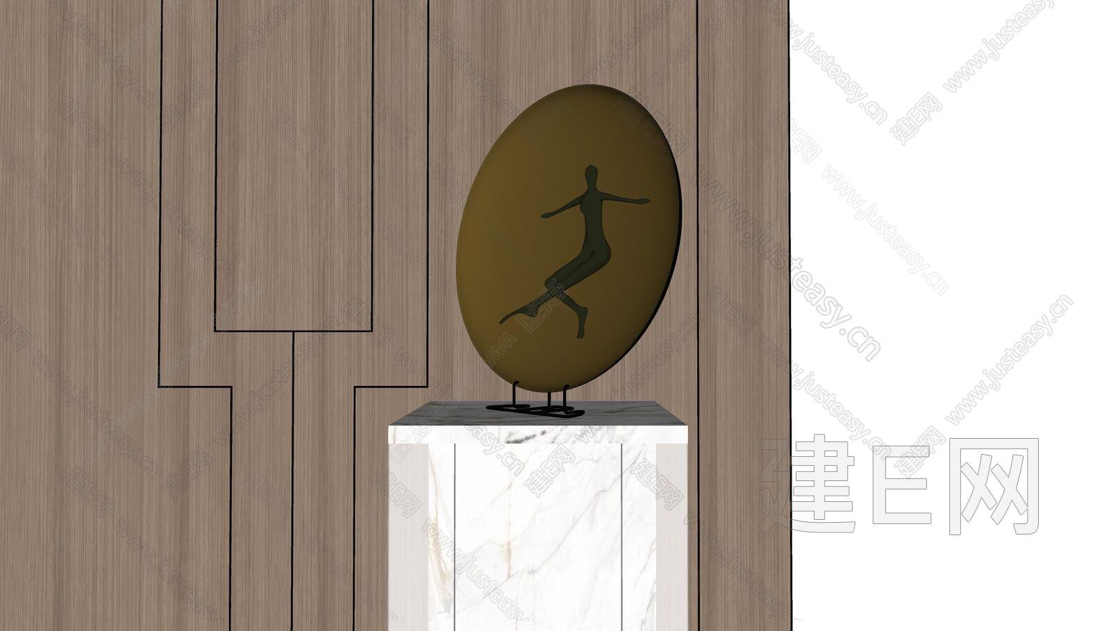 新中式雕塑摆件sketchup模型