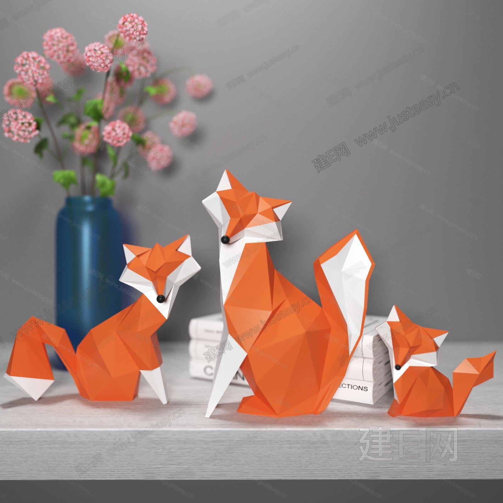 狐狸摆件3d模型