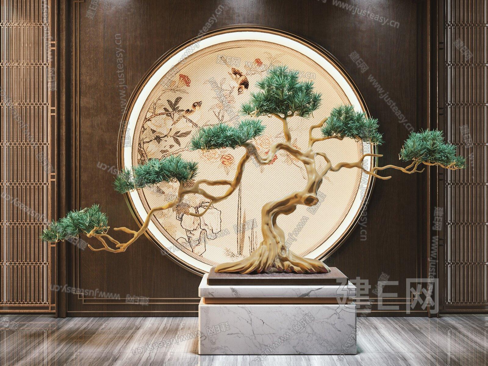 新中式松树 3d模型