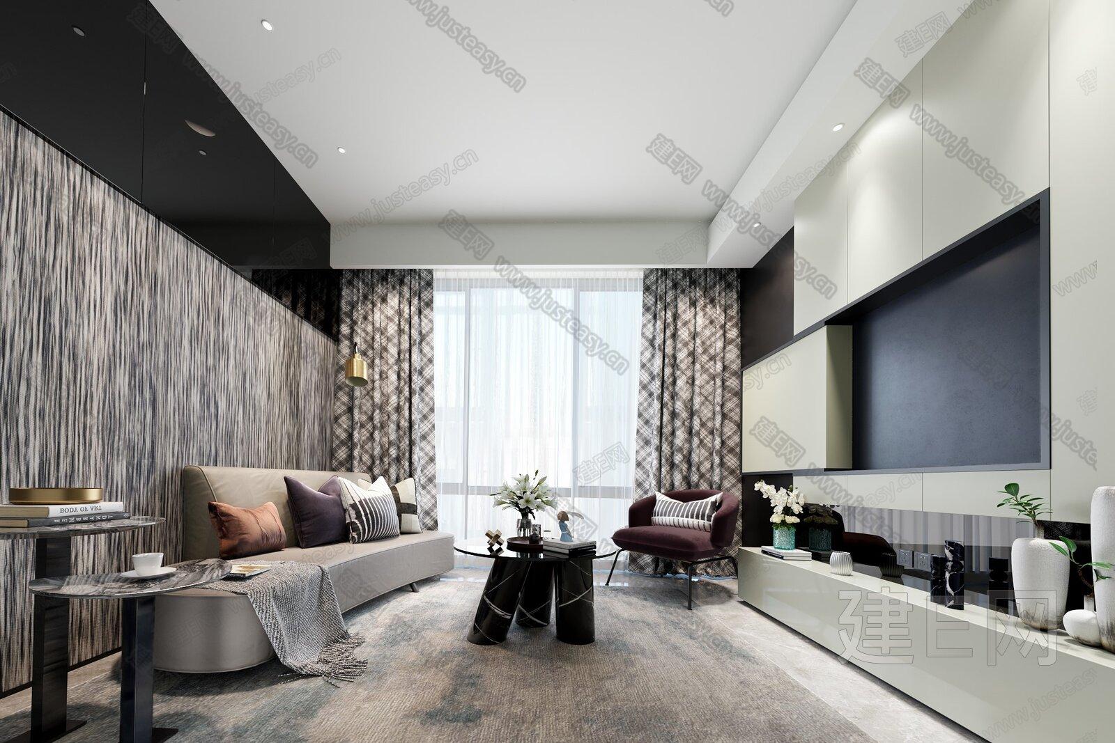 SCD郑树芬设计 现代客厅3d模型