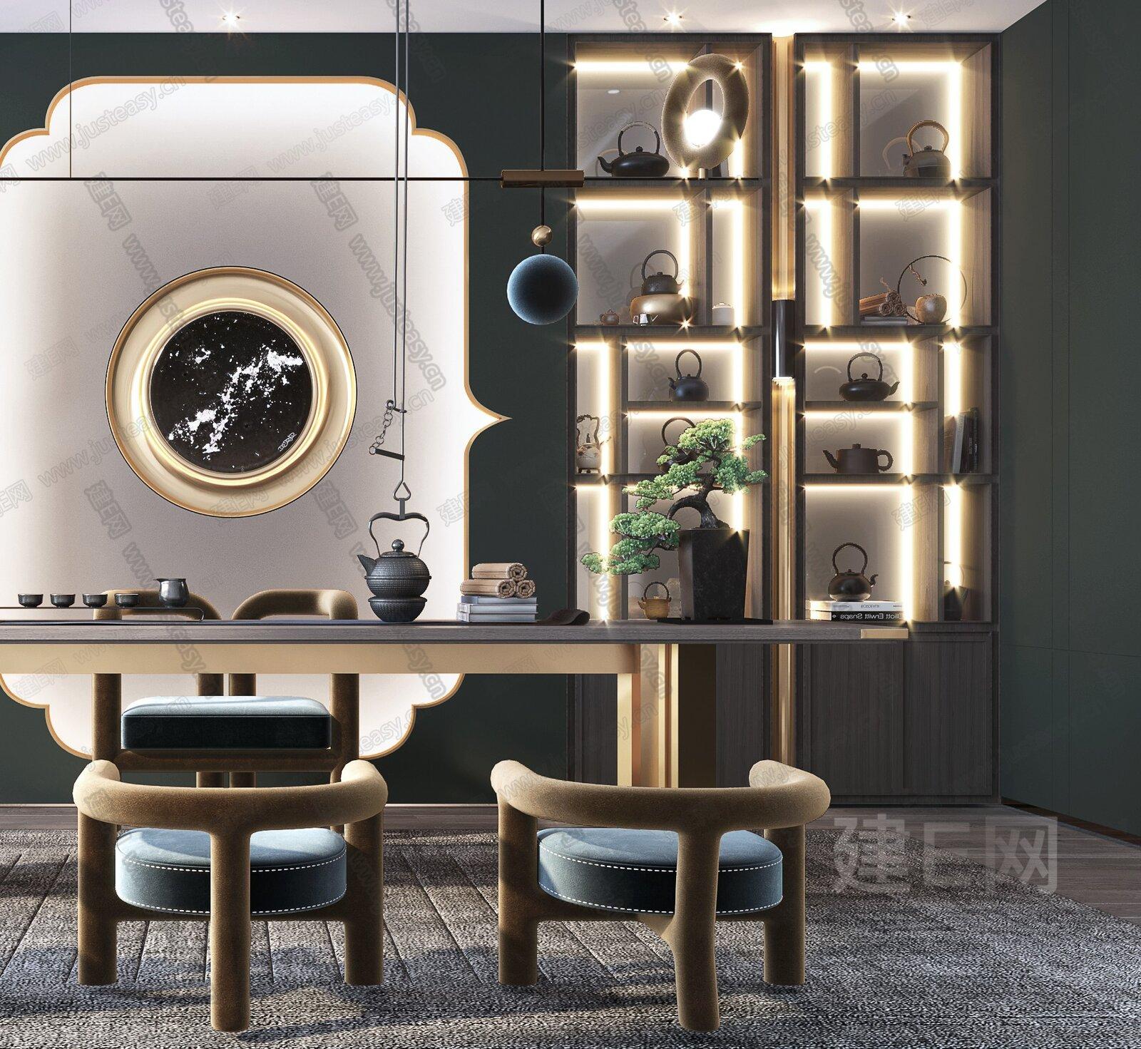 现代新中式茶室3d模型