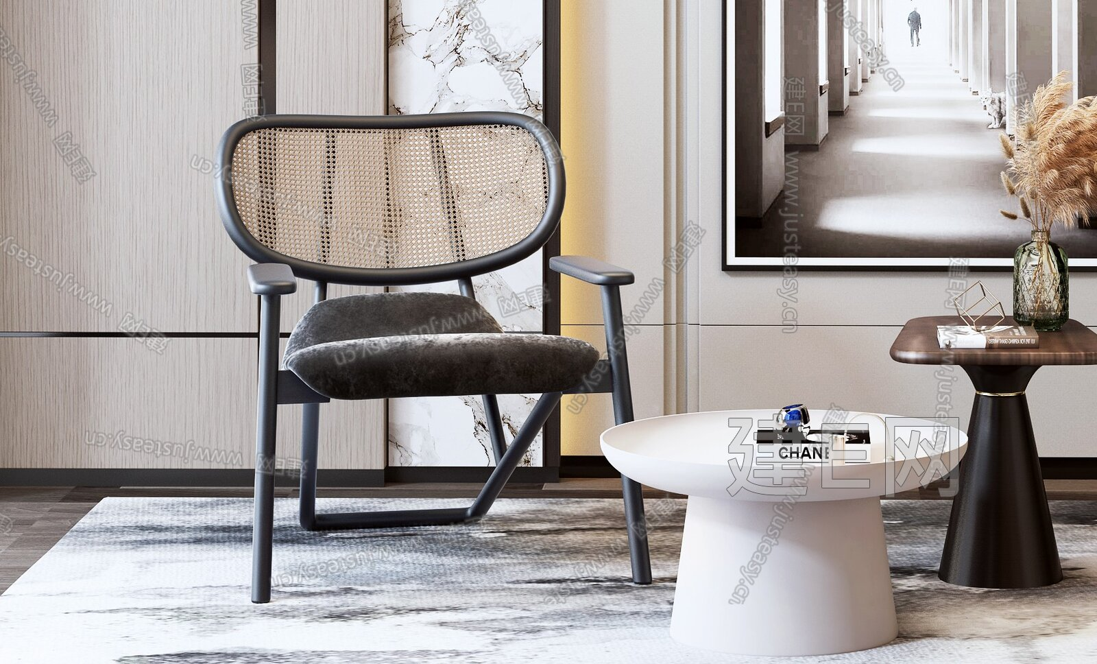 新中式休闲椅茶几组合3d模型