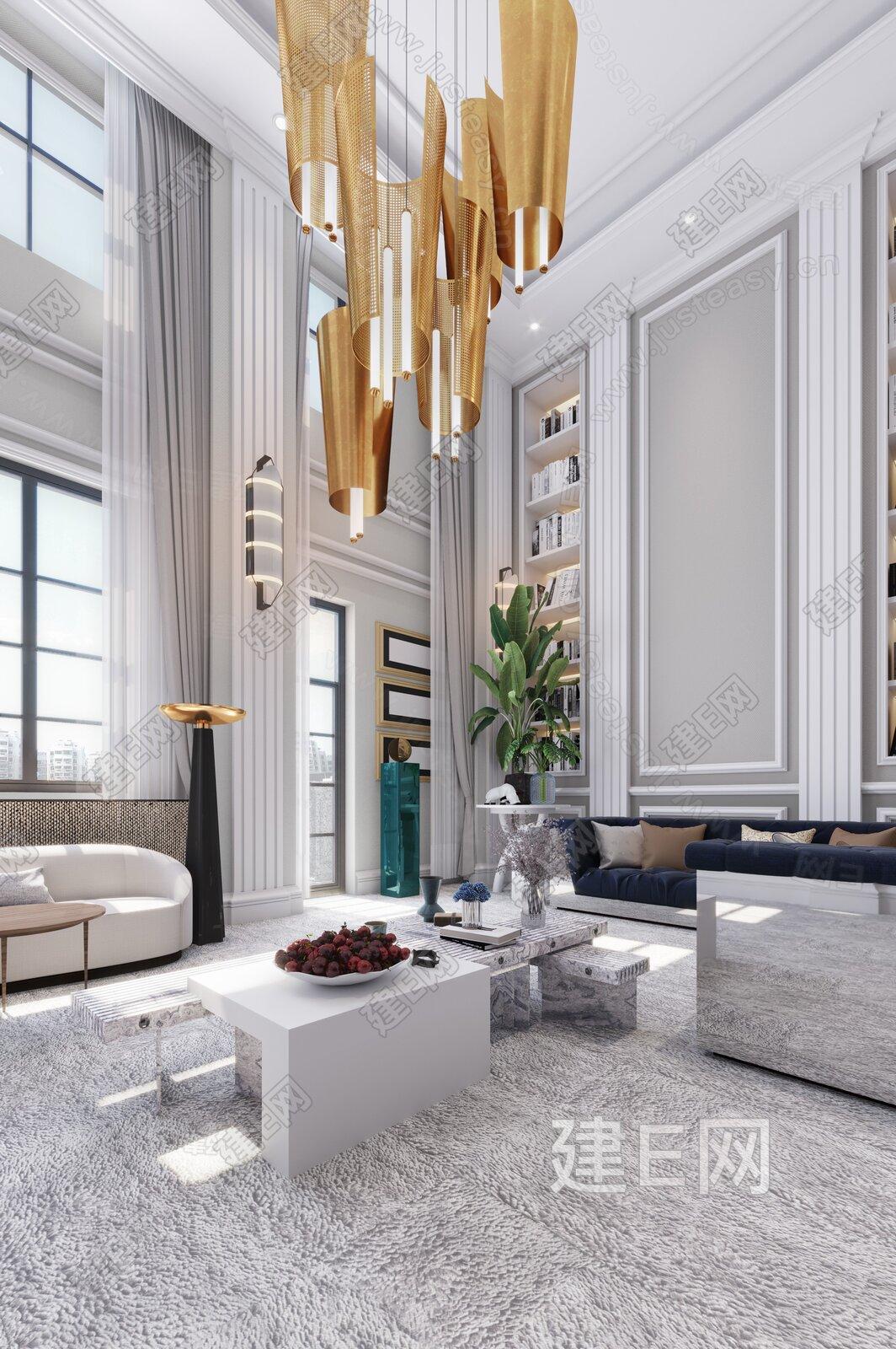 G&K桂睿诗建筑设计 现代轻奢客厅3d模型