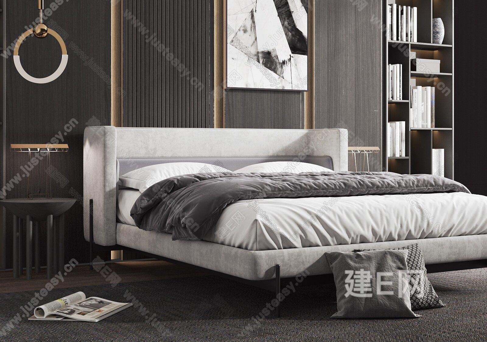 意大利 Busnelli 现代双人床3d模型