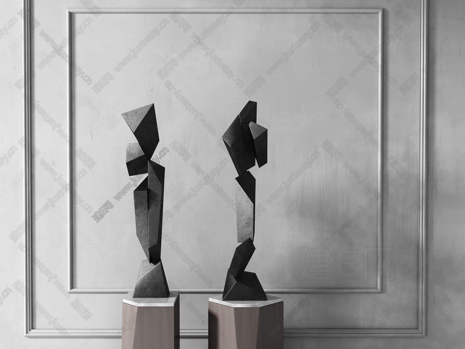 现代石头雕塑组合3d模型