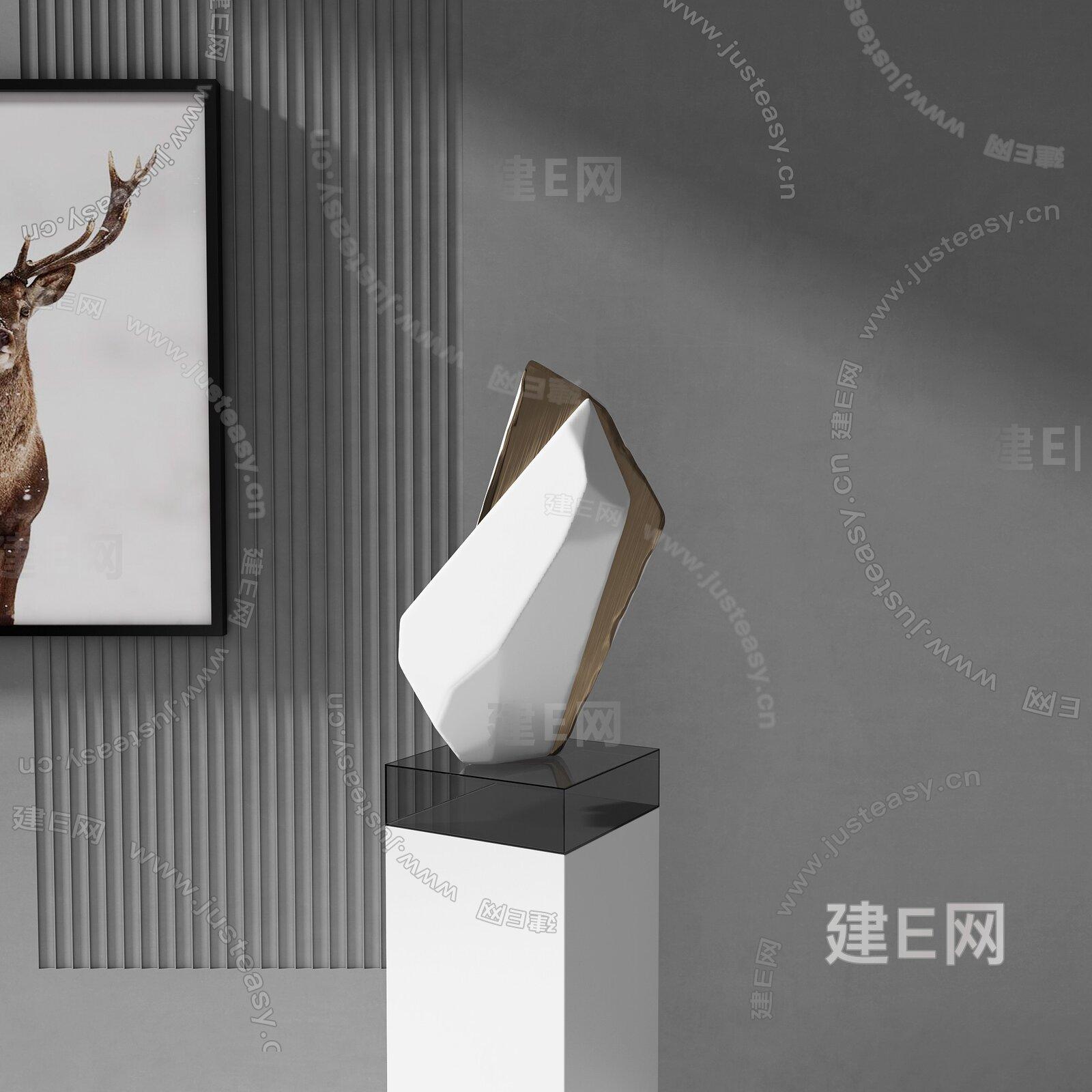 现代石头雕塑3d模型