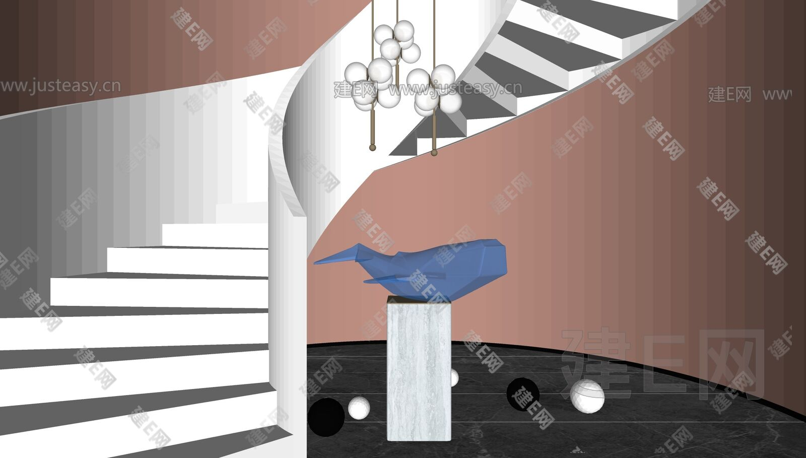 现代楼梯雕塑 sketchup模型