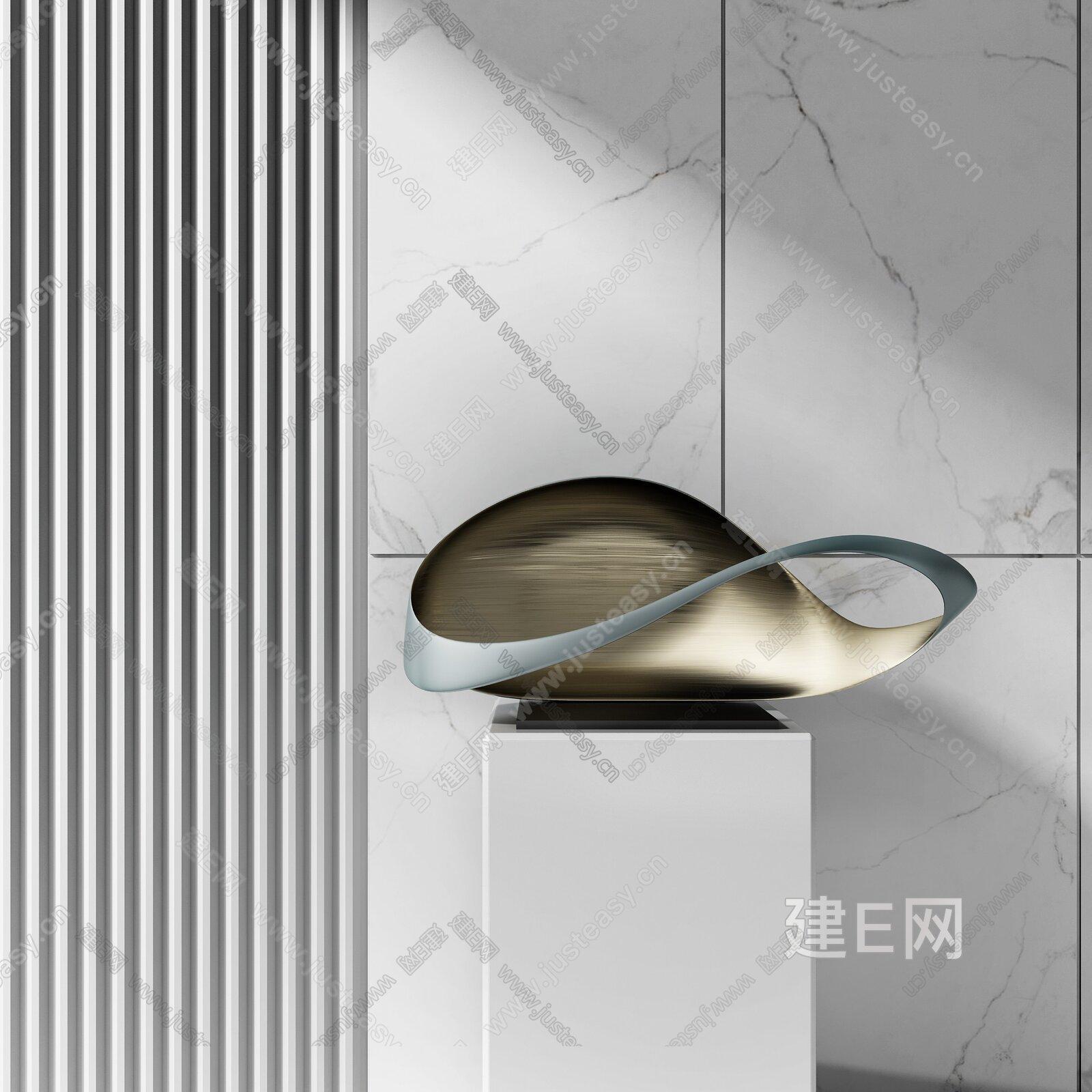 现代抽象金属雕塑3d模型