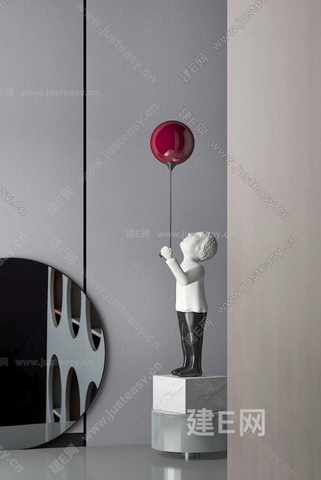 现代人物雕塑摆件3d模型