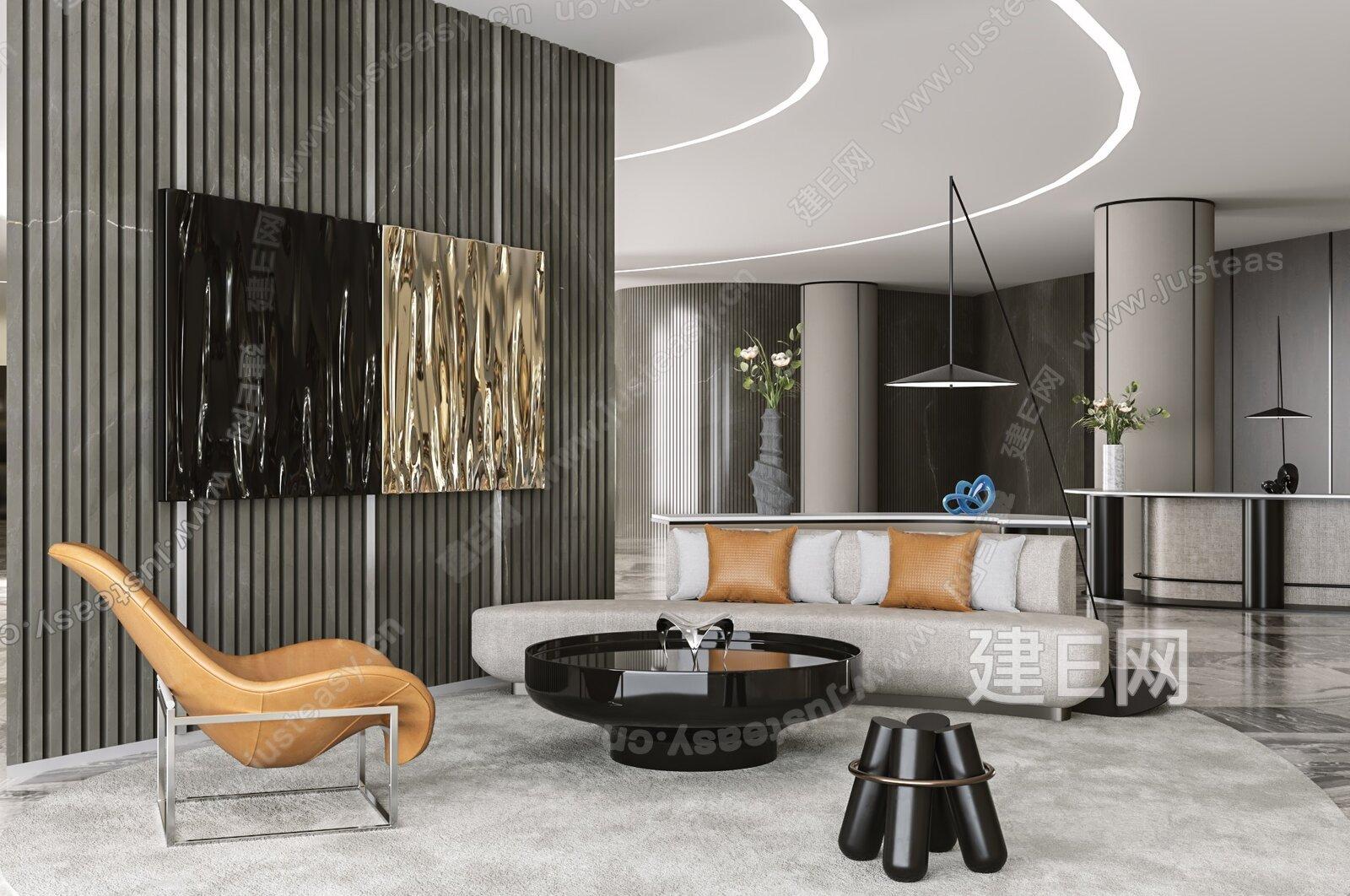 牧笛设计 现代售楼处休息区3d模型