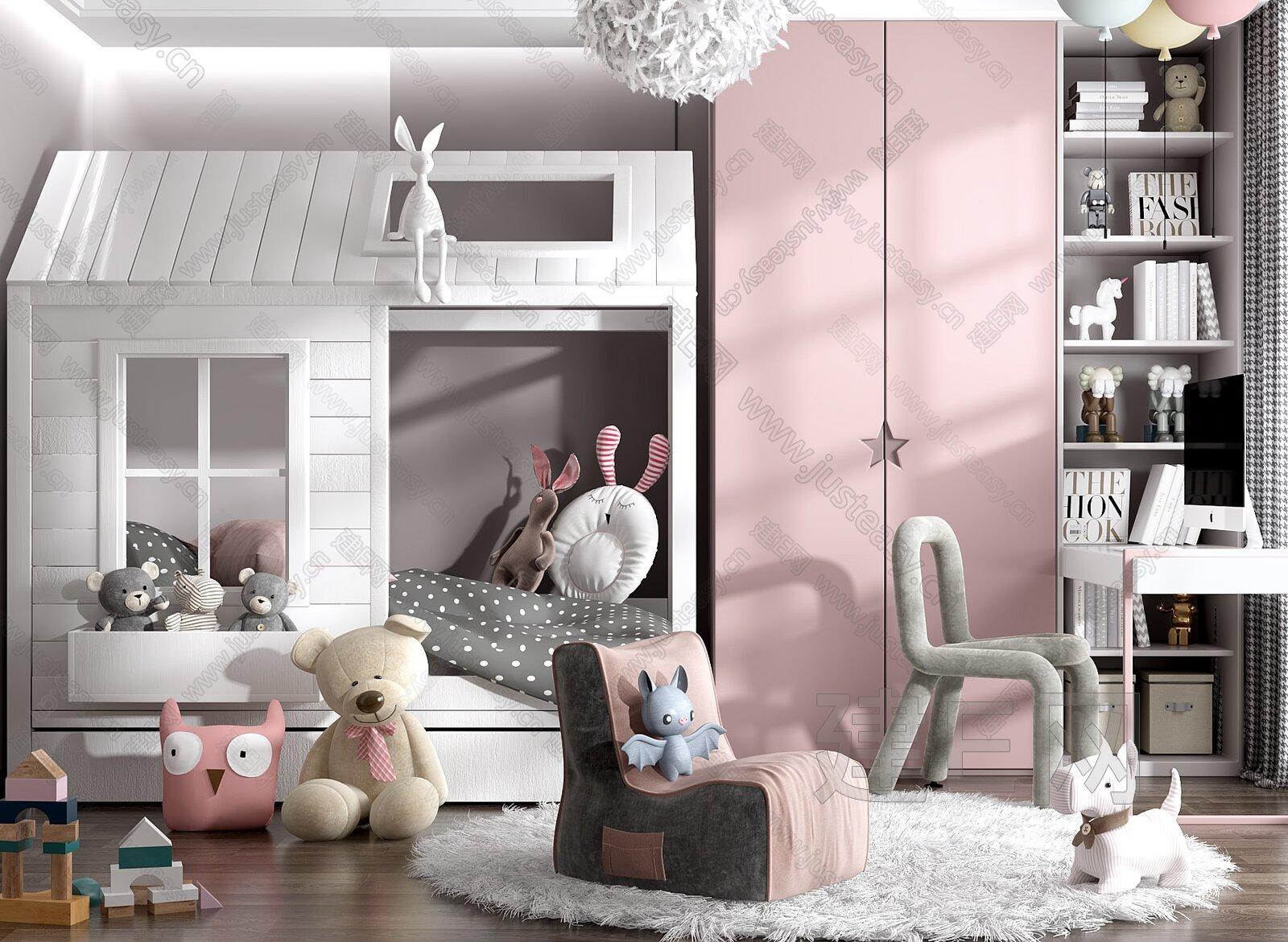 现代儿童房3d模型