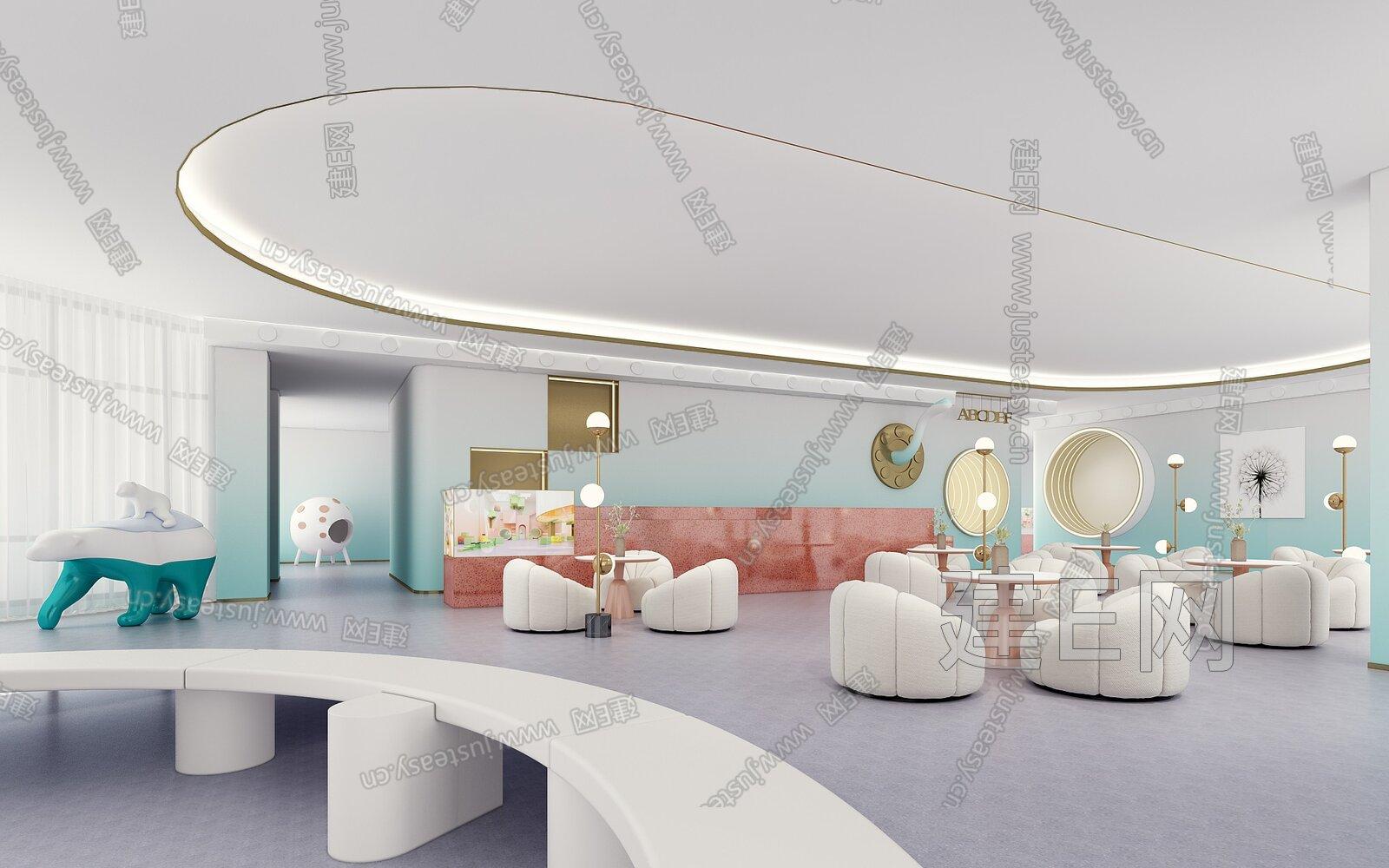 MOD 墨设设计 现代售楼处休闲区3d模型